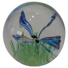 Mid-Century Murano Art Glass Dragonfly Paperweight