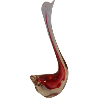 Vintage Murano Cranberry and Clear Sommerso Glass Swan Sculpture Italy Mid-Century