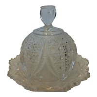 Antique EAPG Clear Round Covered Butter Cheese Dish