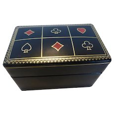 Vintage Italian Embossed Leather Playing Card Box Double Deck MINT