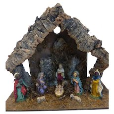 Beautiful Vintage 10 Pc Wood Nativity Creche Manger & Figures Made in Italy