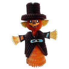 "Vintage Halloween Honeycomb Scarecrow Decoration Made in Denmark 15"""