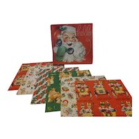 1950s DeLuxe Christmas Wrapping Paper 6 Sheets in Original Box
