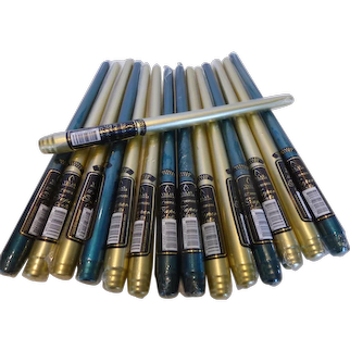 Metallic Taper Candles - 12 Inch Gold & Deep Green Lot of 14