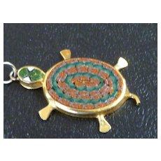 Micro Mosaic Stone Turtle Pendant Pietra Dura Italy