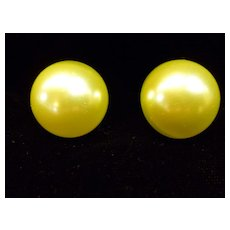 Vintage Big Coro Chartreuse Faux Pearl Button Earrings