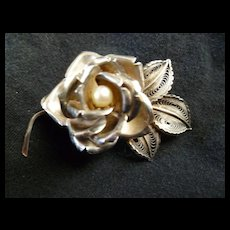 Vintage Sterling Silver Rose Brooch Pin with Pearl