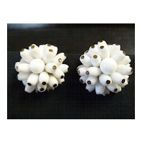 Vintage West Germany Milk Glass Cluster Earrings