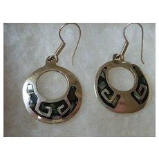Vintage Taxco Sterling Silver & Abalone Dangle Hoop Earrings Mexico