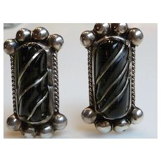 Vintage Del Rio Mexico Sterling Silver & Onyx Earrings