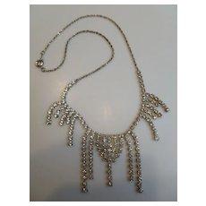 Vintage Rhinestone Chandelier Necklace, Korea
