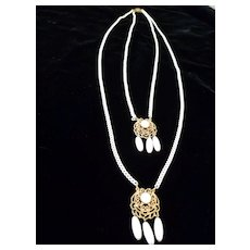 Vintage 1960's Enamel Chains with Milk Glass  Beads Necklace