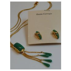 Rare Hattie Carnegie Lariat Slide Bolo Necklace and Earrings  Demi-Parure MINT