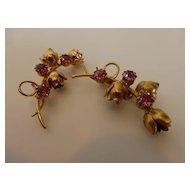 Vintage 1940's Gold Tone Pink Rhinestone Flower Brooch