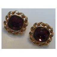 Vintage  Swarovski Amethyst Crystal Earrings