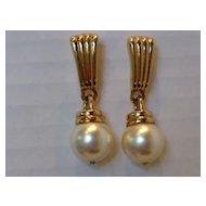 Vintage Swarovski Faux Pearl Drop Earrings
