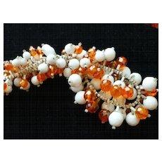 Vintage KRAMER Milk Glass and Orange Bead Dangle Fringe Collar Necklace