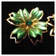 Vintage Metal Enamel and Rhinestone Flower Earrings