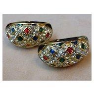 Vintage Bejeweled Rhinestone Enamel Half Hoop Earrings