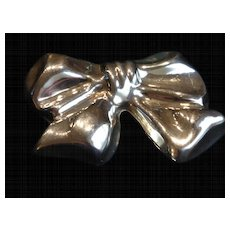 Vintage Sterling Silver Big Bow Pendant Brooch Taxco Mexico