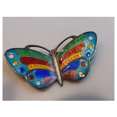 Vintage Sterling Silver Cloisonné Enameled Butterfly Brooch