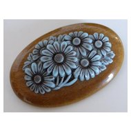 Wood and Celluloid Flower Brooch