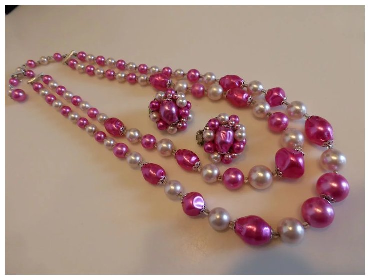 Pink Faux Pearl Necklace And Earrings Set Demi Parure An