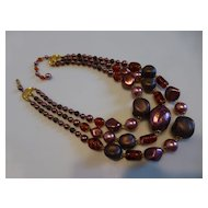 Triple Strand Orchid Molded Bead Necklace Japan