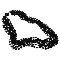 Multi-Strand Early Plastic Black Necklace