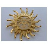 Vintage CRAFT Big Open Work Sun Brooch, Signed
