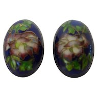 Vintage Chinese Cloisonné Button Earrings