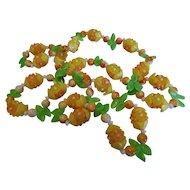 Vintage Plastic and Glass Lemon Flower Necklace