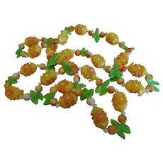 Vintage Plastic and Glass Lemon Flower Necklace