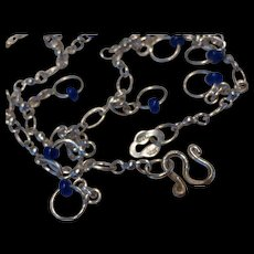Vintage Sterling Silver Glass Bead Anklet