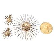 Vintage Domed Pave Rhinestone Sunburst Brooch and Earrings Set