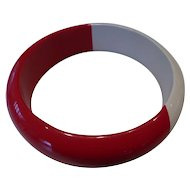 Vintage Cherry Red & White Lucite Bangle Bracele