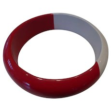 Vintage Cherry Red & White Lucite Bangle Bracele