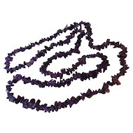 Vintage Polished Amethyst Nugget Necklace 38 Inches
