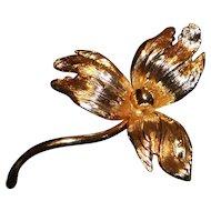 Henkel & Grosse Germany 1965 Gold Tone Flower Brooch