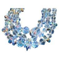Sky Blue Austrian AB Crystal Triple Strand Necklace