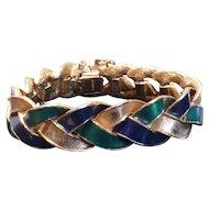 Pre-1955 Ciner Blue & Green Enamel Bracelet