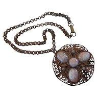 Vintage Copper Filigree Art Glass Pendant Necklace