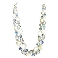Mid-Century Foil Glass, Cut Crystal and Pearl Double Strand Necklace