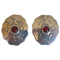 Vintage Native American Sterling Silver Carnelian Earrings