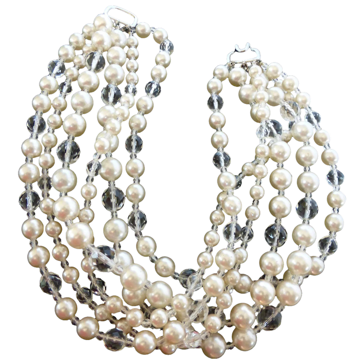 582aa33ac6837 Magnificent Kenneth Jay Lane Signed Faux Pearl & Cut Crystal Bead Six  Strand Necklace