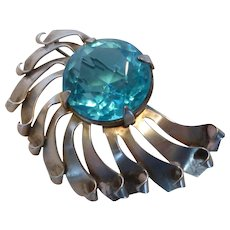 Fabulous Large Sterling Silver and Blue Crystal Stone Brooch