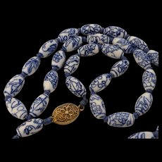 Vintage Chinese Porcelain Blue & White Bead Necklace