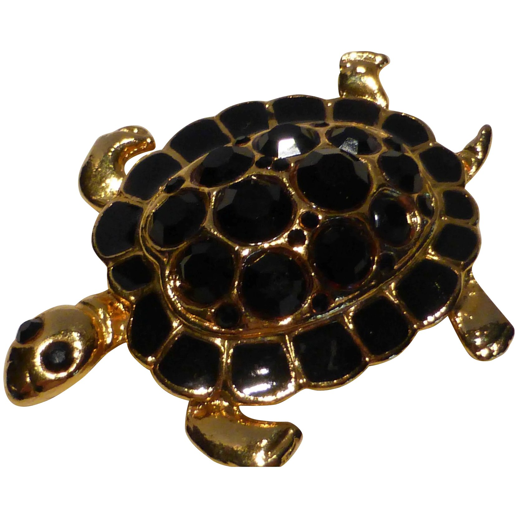 Turtle Pin Brooch Black Glass And Enamel In Gold Tone