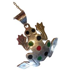 Vintage Sterling Silver Enamel Frog Pendant Necklace Taxco Mexico
