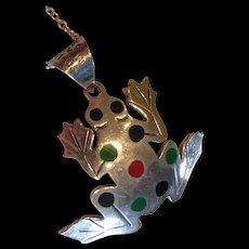 Vintage Sterling Silver Enamel Frog Pendant Necklace Taxco Mexico